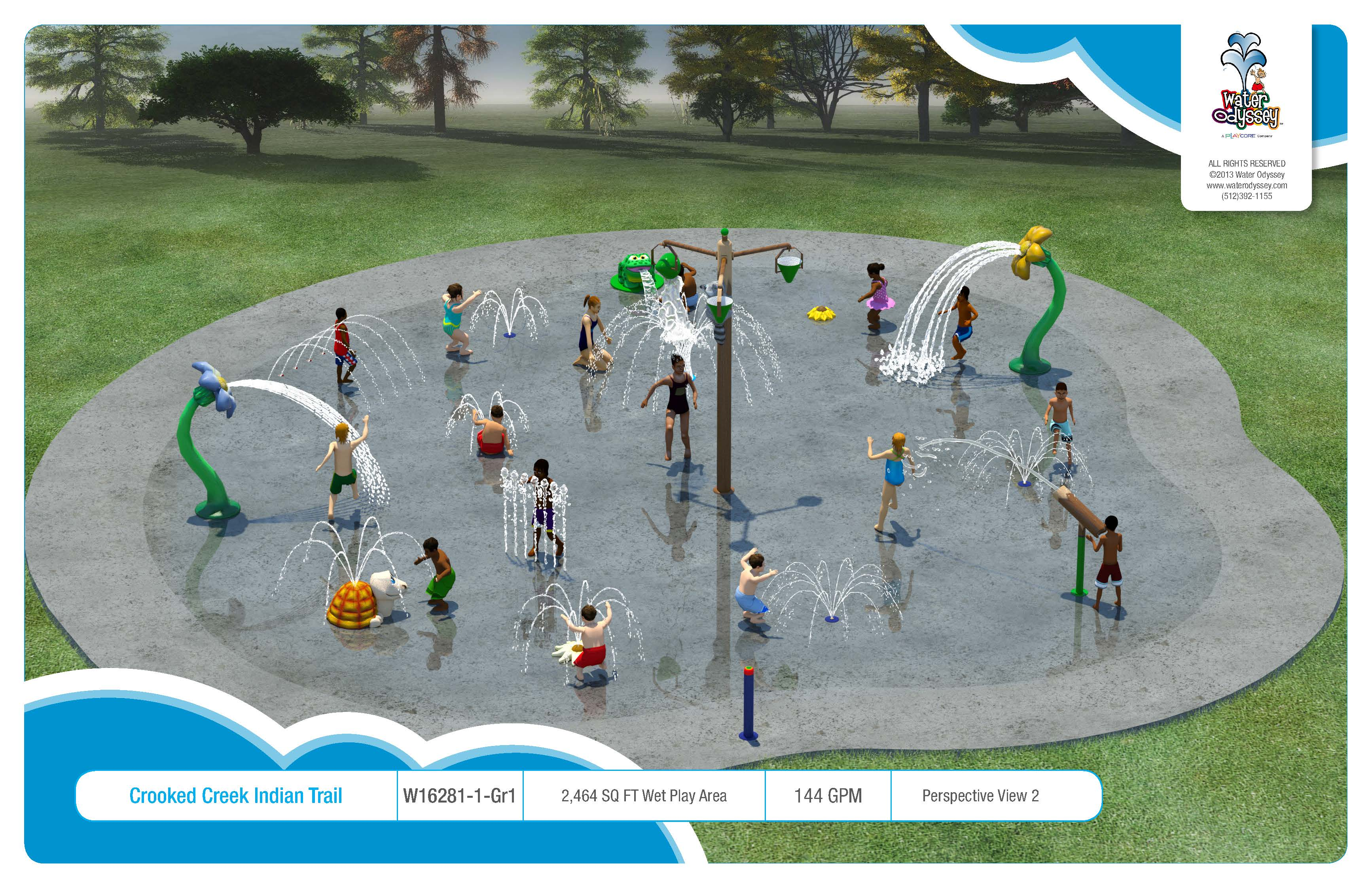 A rendering of the Crooked Creek Park Splashpad