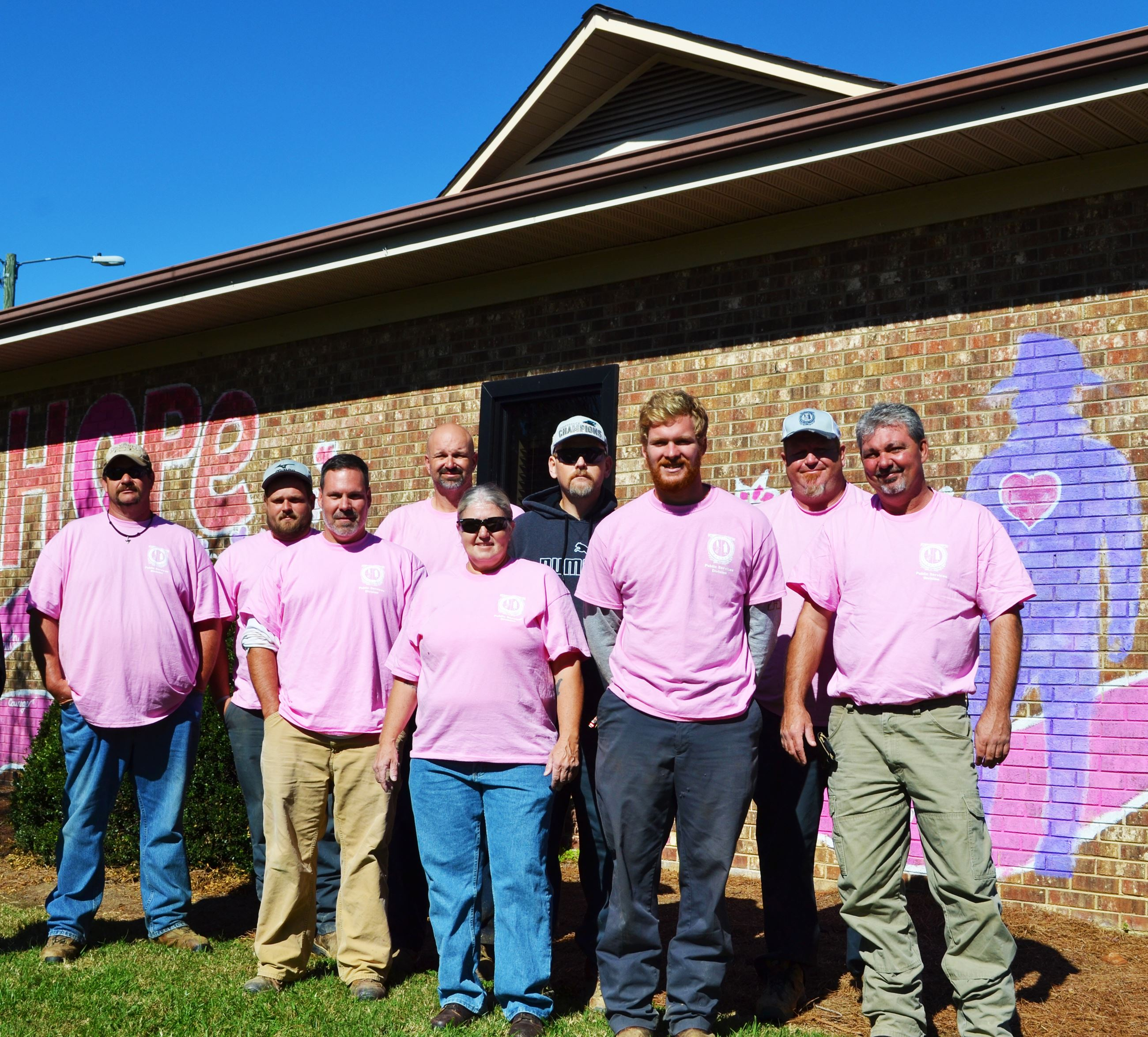 Public Works staff wearing pink for Breast Cancer Awareness