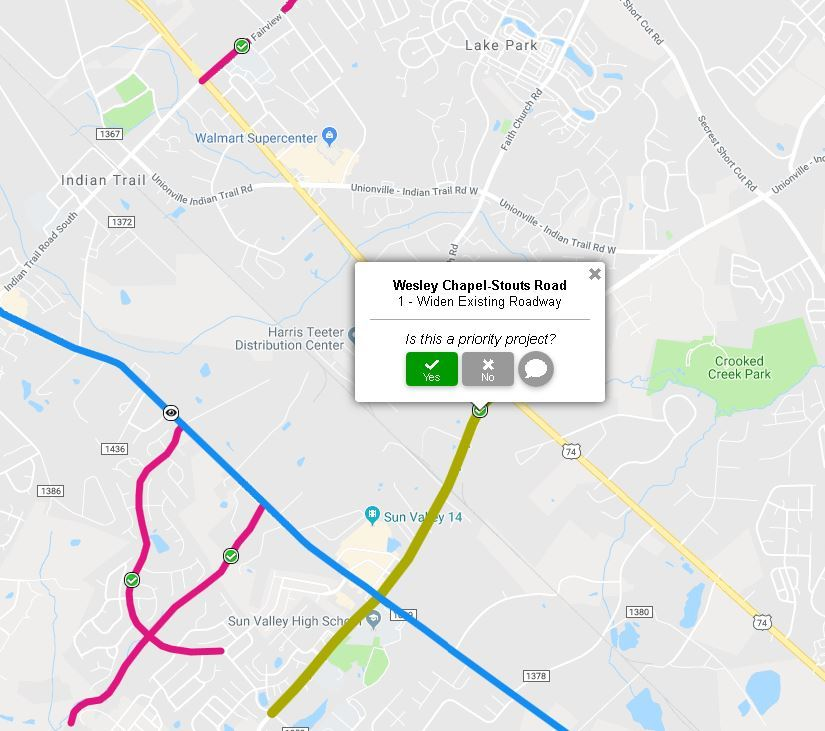 A map showing potential road projects around Indian Trail