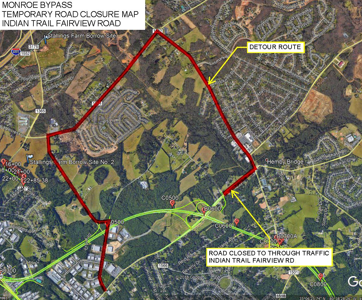 Indian Trail-Fairview Closure Map