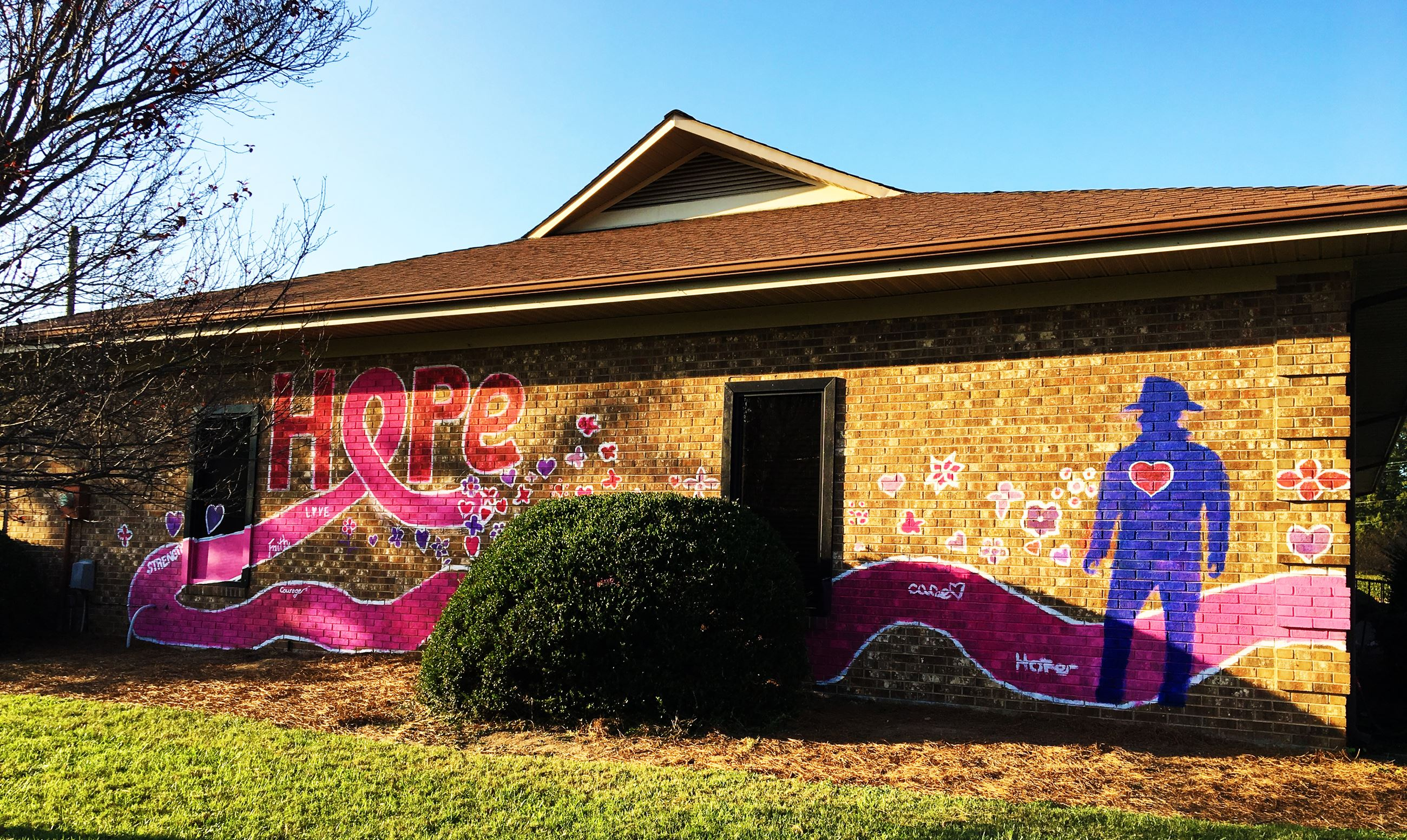 A breast cancer awareness mural
