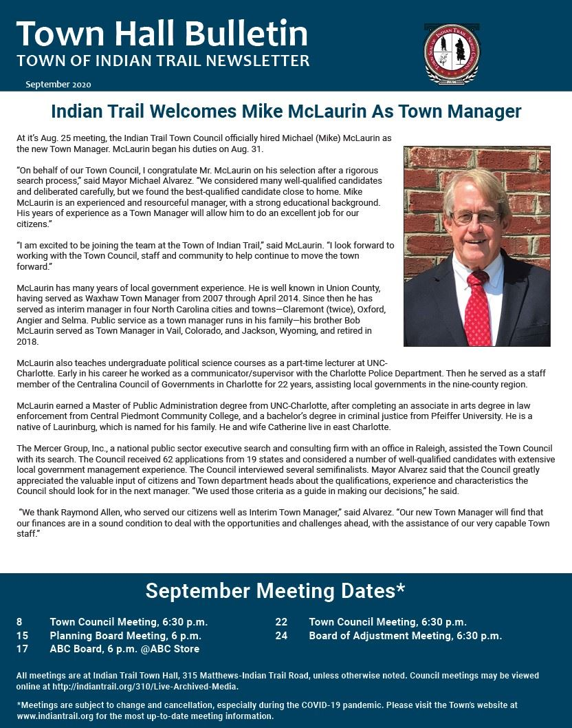 September Town Hall Bulletin Cover