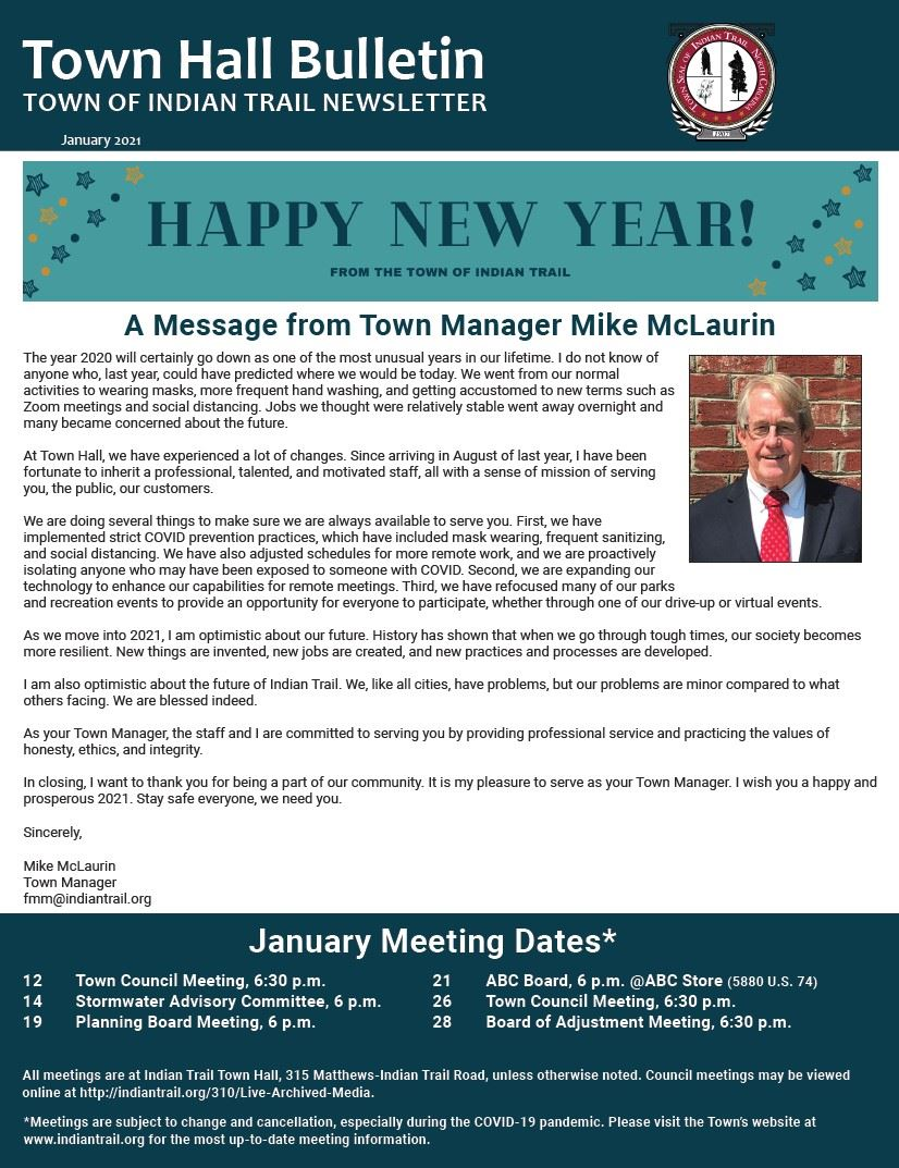 January 2021 Town Hall Bulletin Cover
