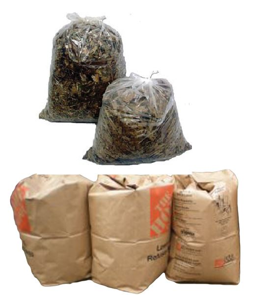 Plastic and paper bags of yard waste