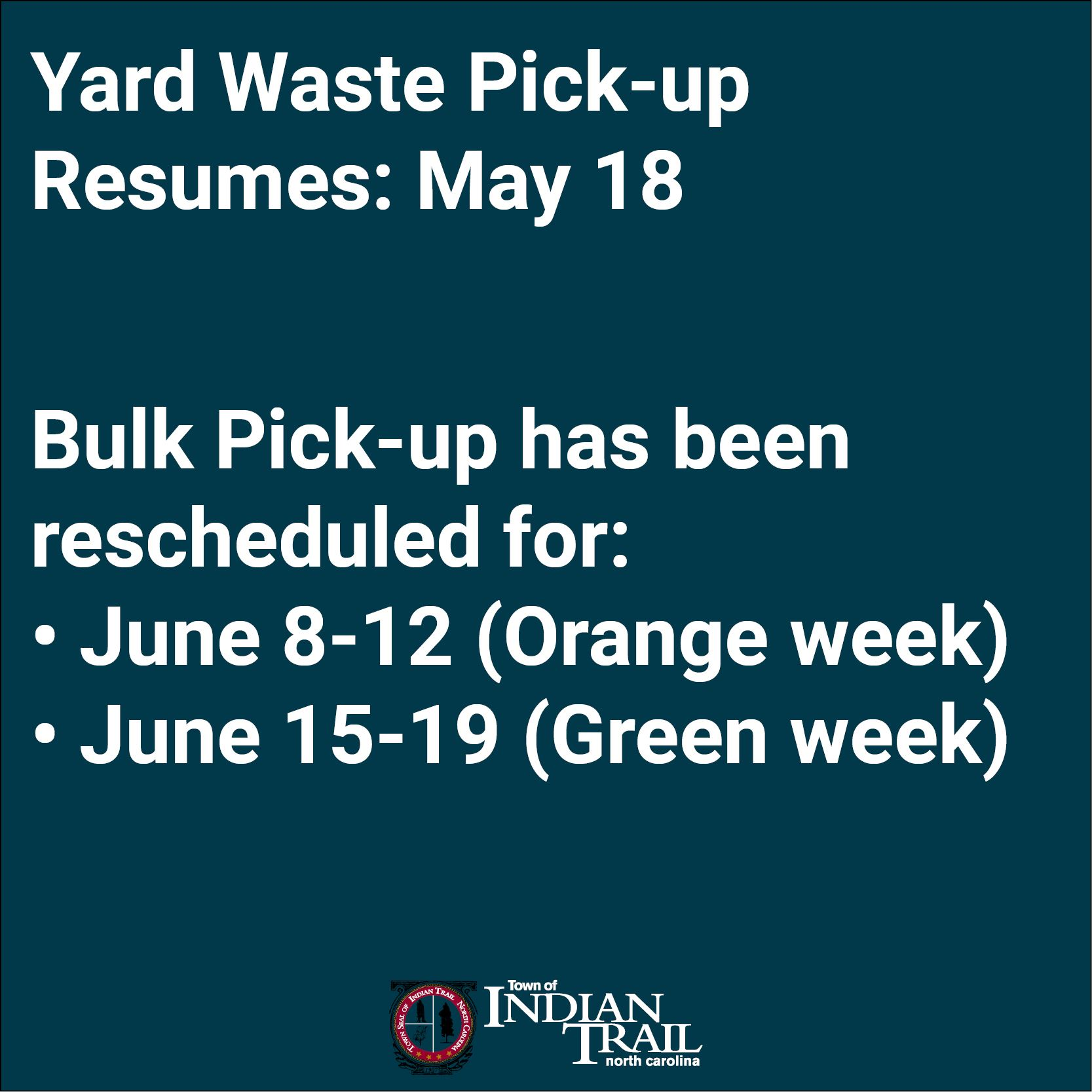 Yard Waste and Bulk Pick-up Resume