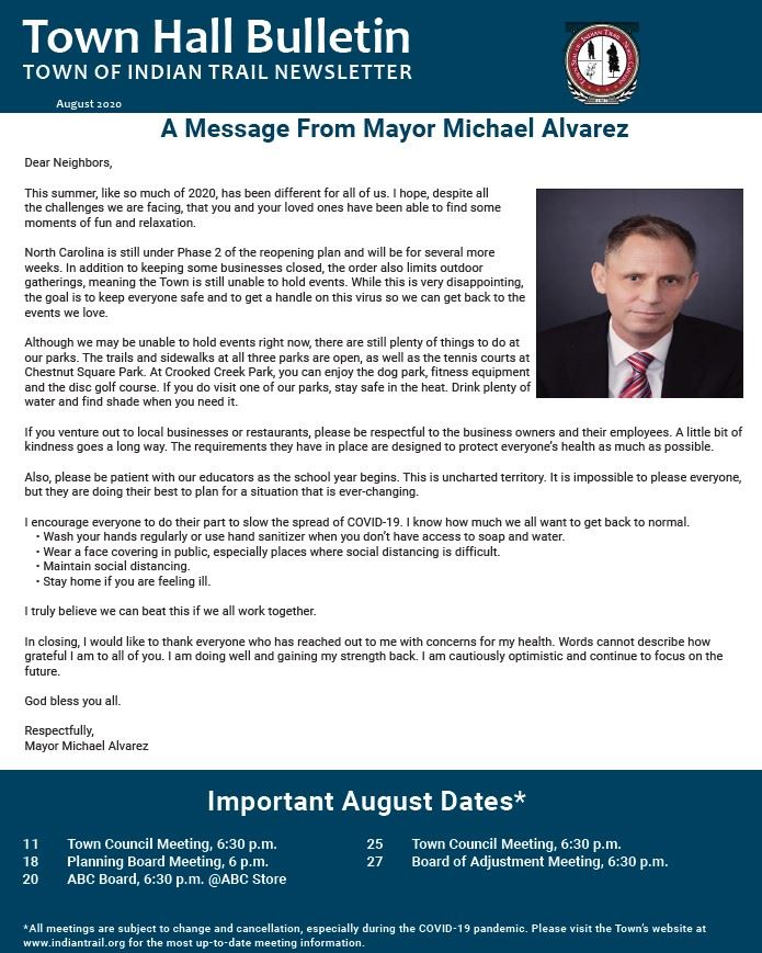 August Town Newsletter Cover