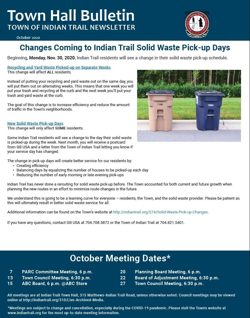 October 2020 Town Hall Bulletin Cover Page