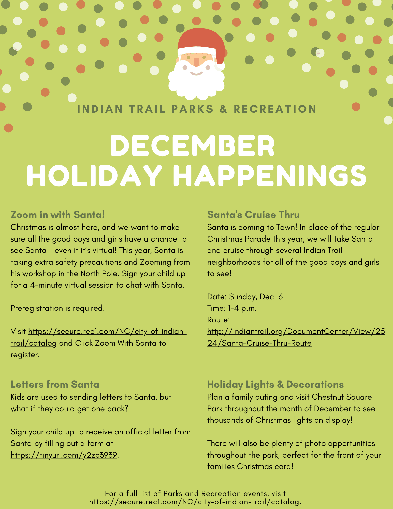 December Holiday Happenings list of events