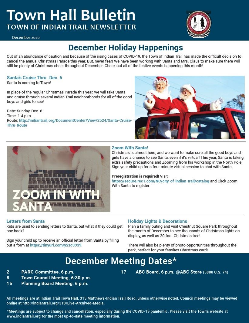 Cover Page of the December Town Hall Bulletin Newsletter