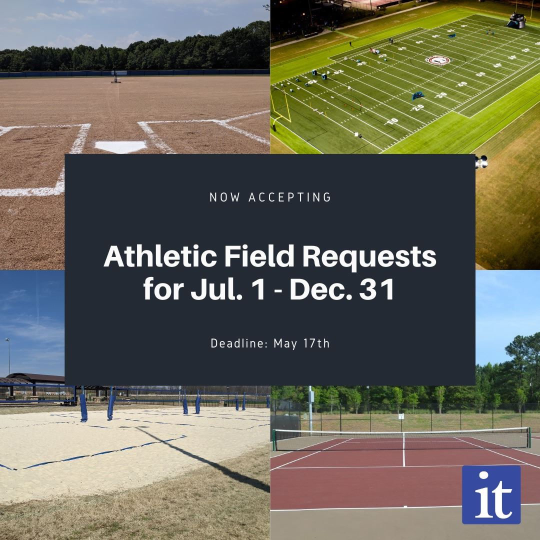 A football field, baseball diamond, tennis court and volleyball court are shown in a collage.