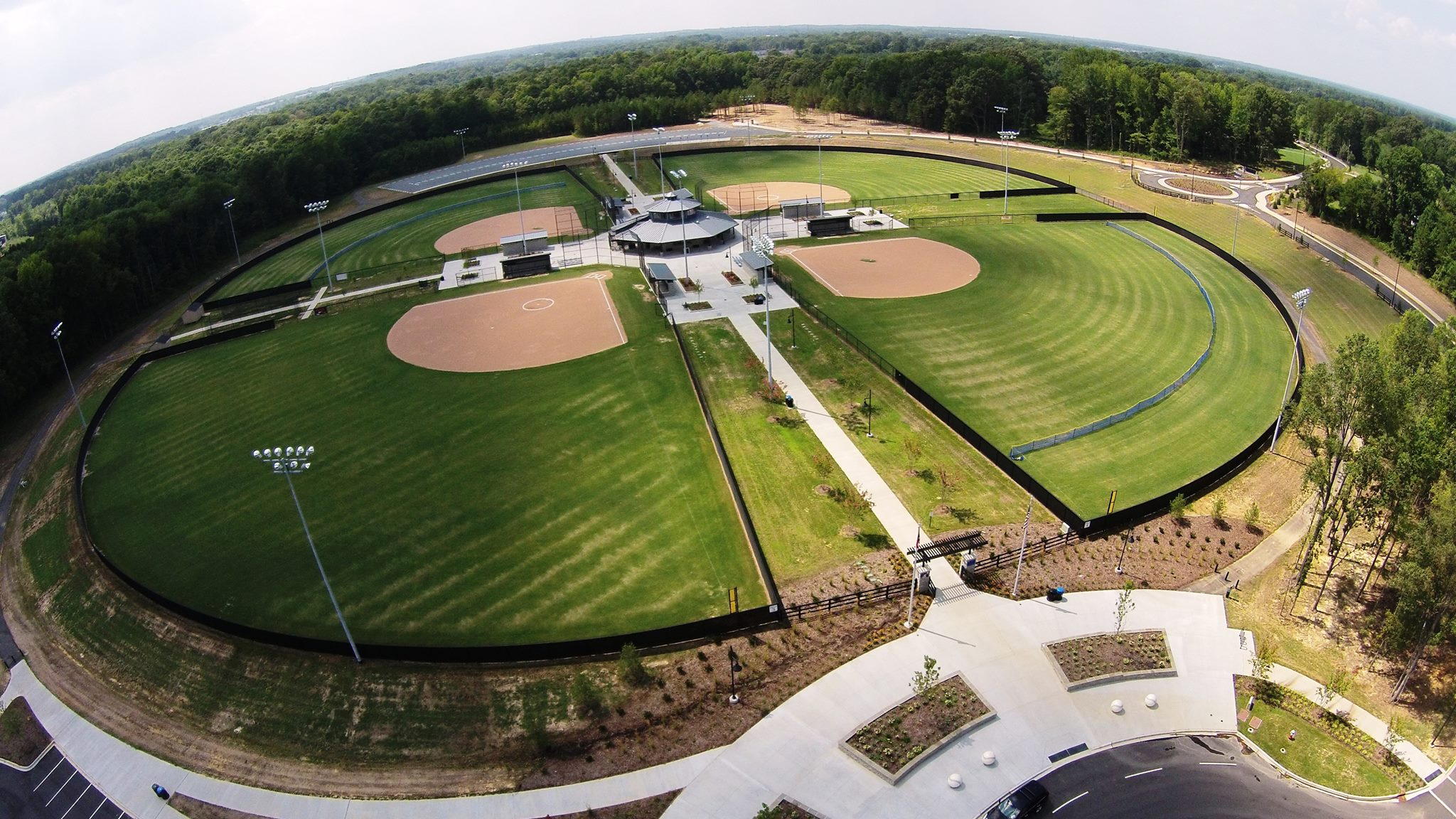 Crooked Creek Park ballfields from above